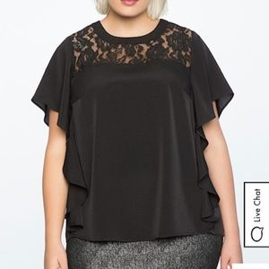 BLACK FLUTTER SLEEVE TOP WITH LACE DETAIL